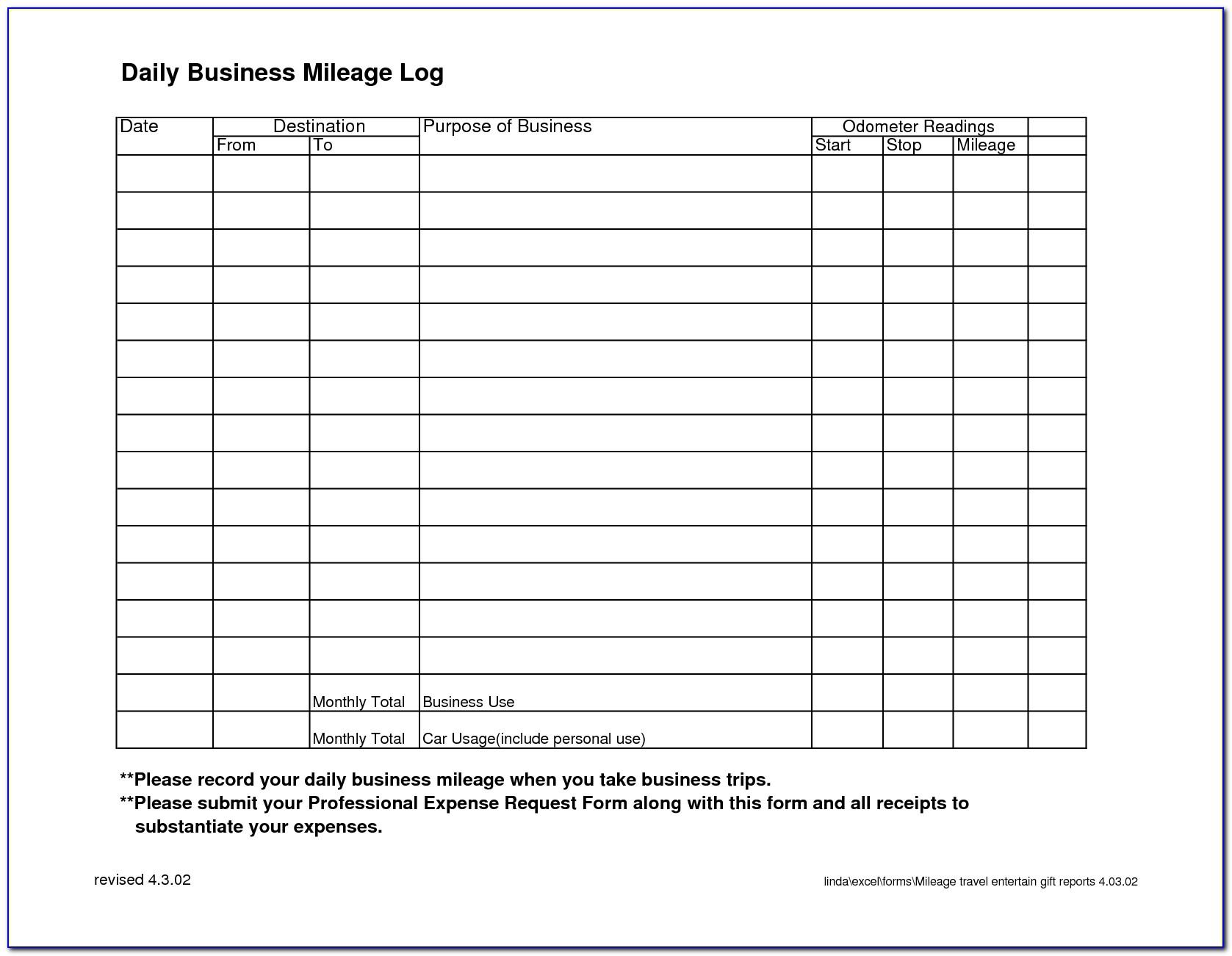 Daily Mileage Log Template