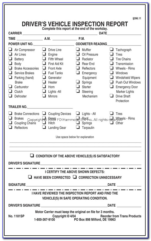 Daily Vehicle Inspection Checklist Form