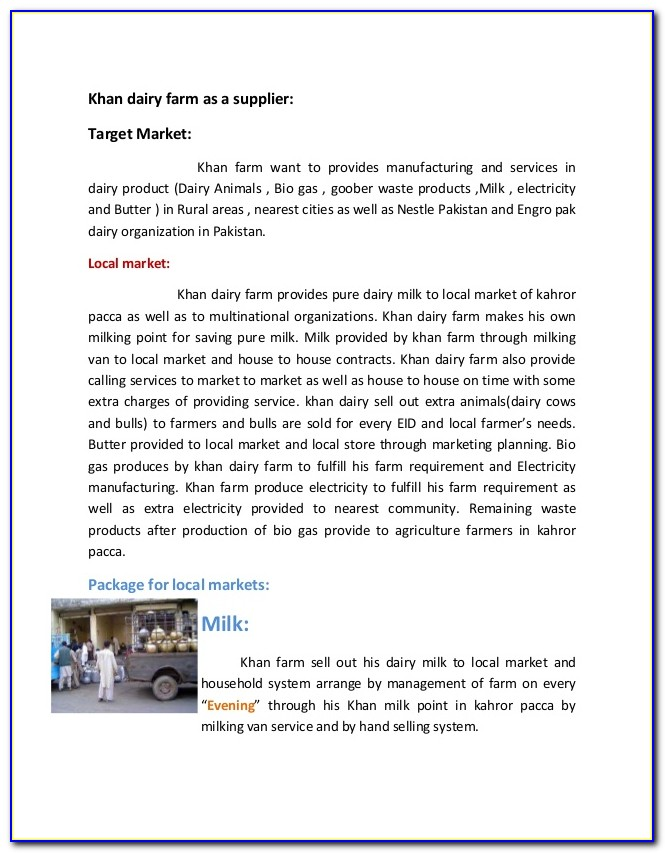 Dairy Farm Business Plan Examples