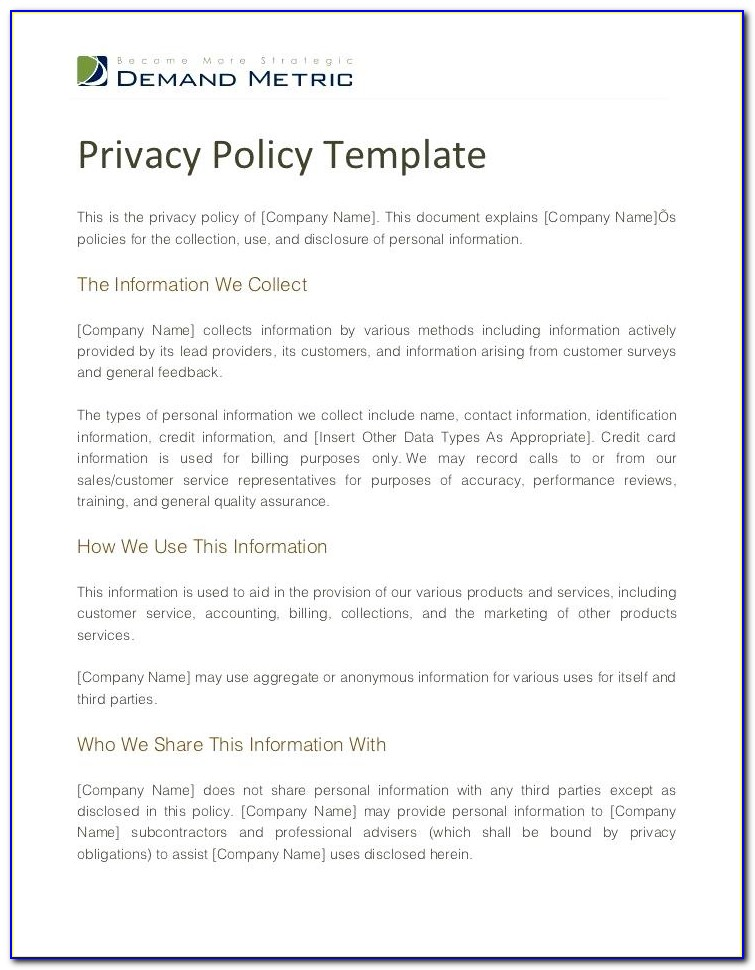Data Protection And Privacy Policy Template