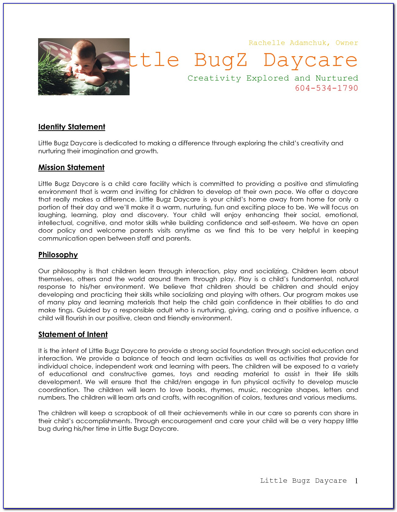 Day Care Business Plan Examples