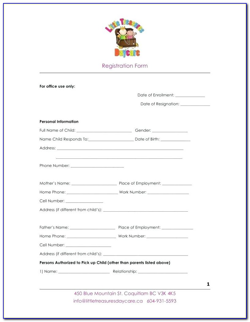100 Daycare Registration Form Template Health And Lifestyle Free Child Care Registration Form Template New Doc Xls Letter Download Templates Uewye Vincegray2014