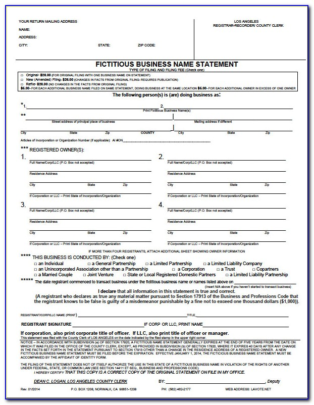 Dba California Form