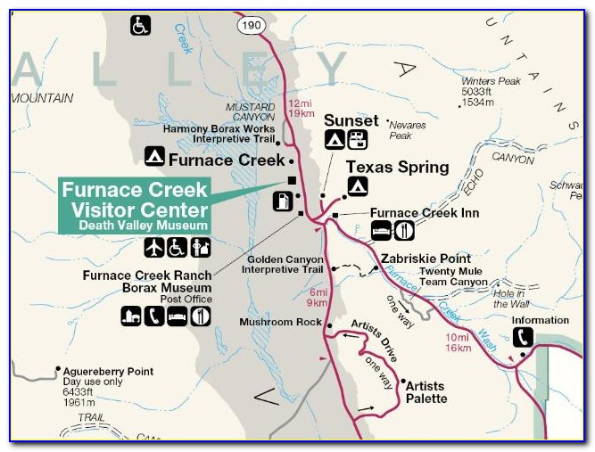 Death Valley Lodging Map