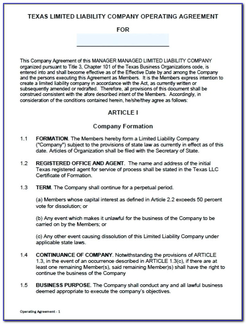 Delaware Limited Liability Company Agreement Form