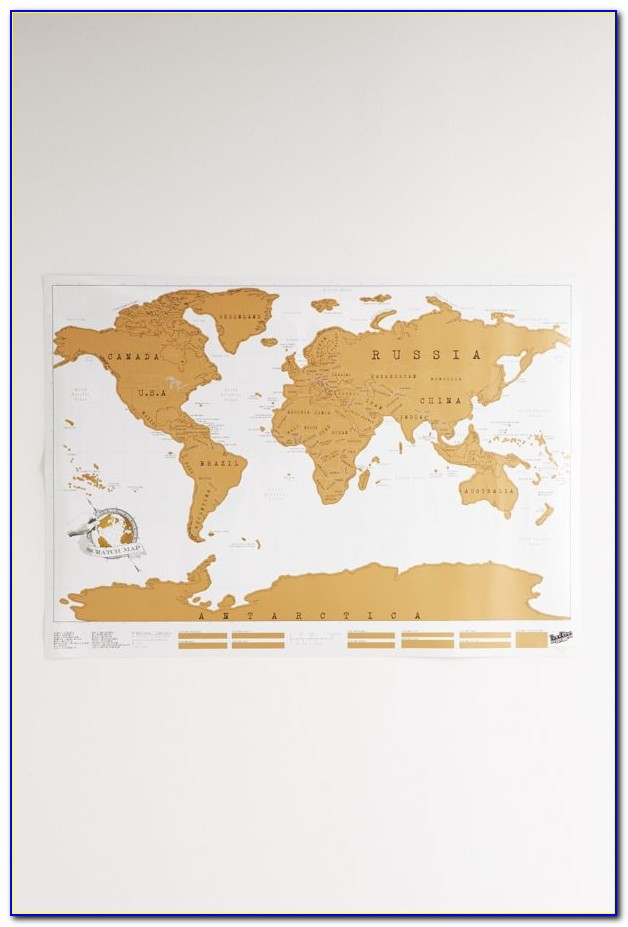 Deluxe Gold Scratch Off World Travel Map