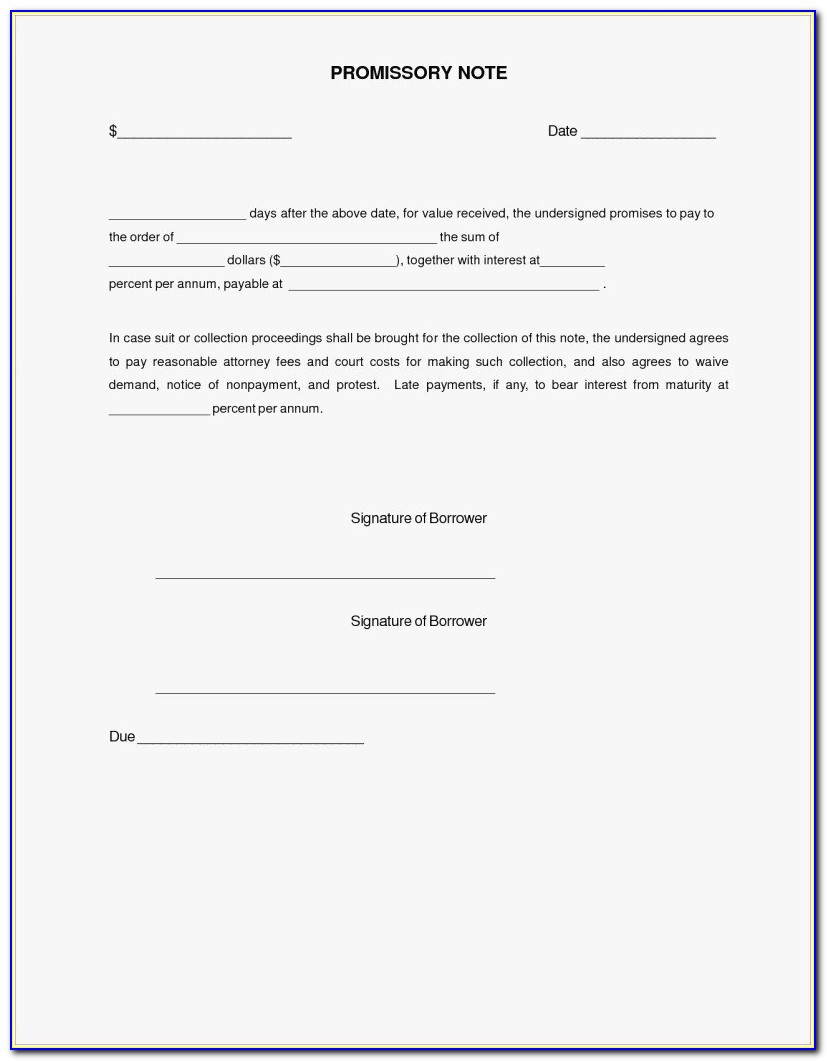 27 Free Promissory Note Template Word