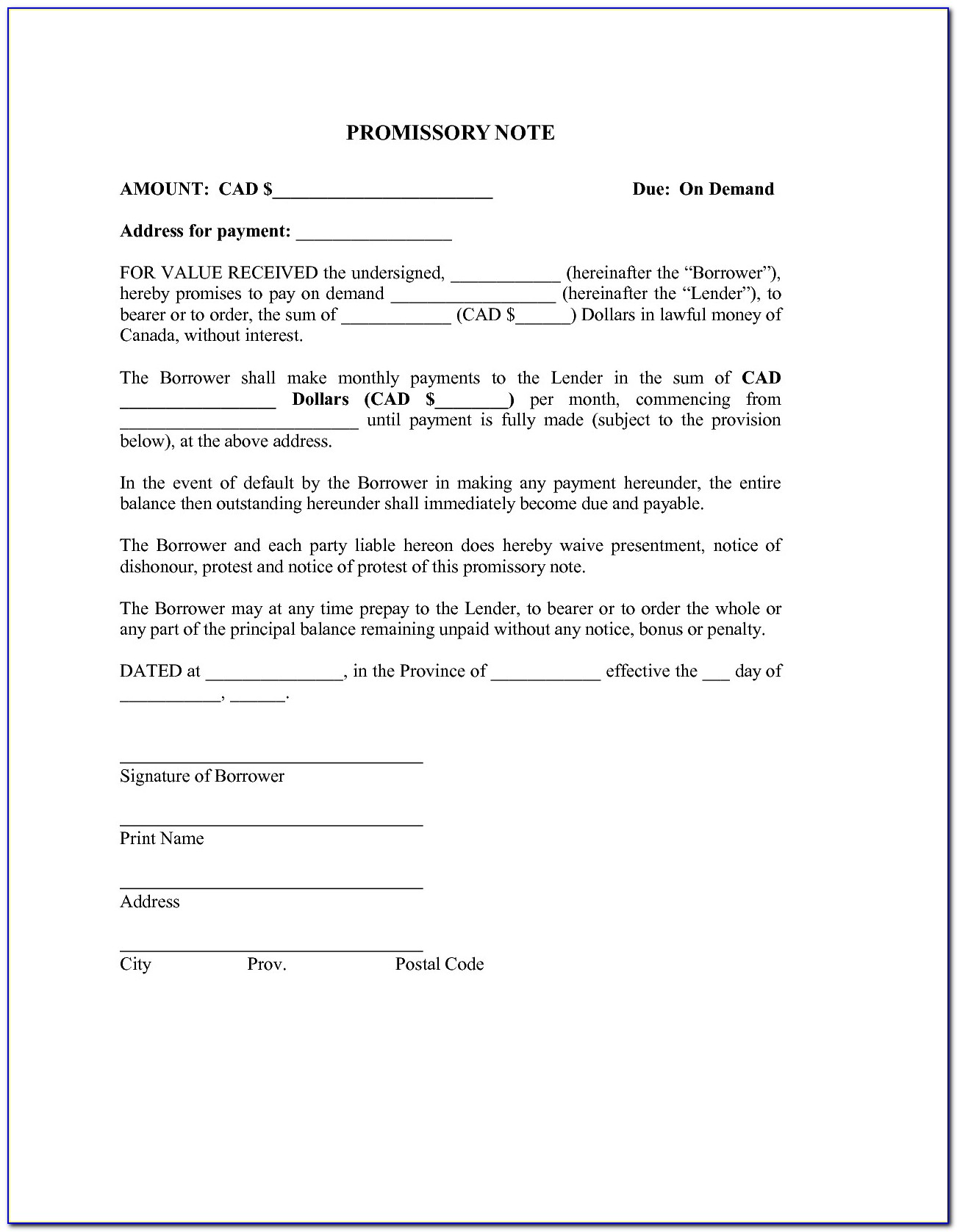 20 Awesome Free Promissory Note Template For Personal Loan