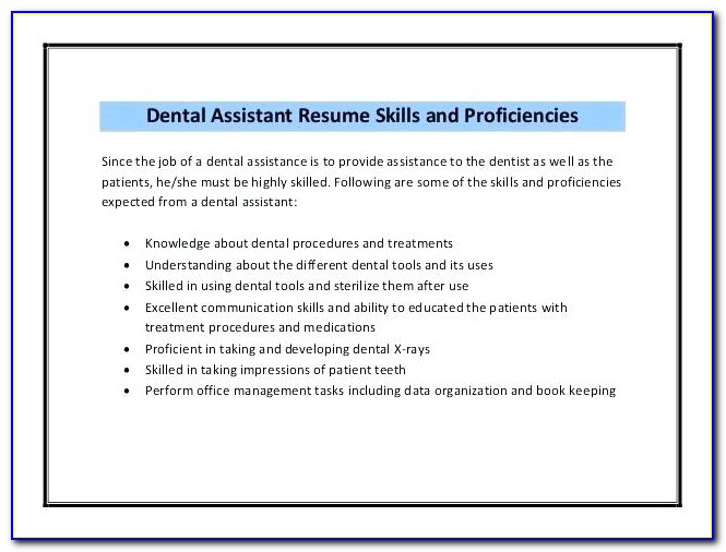 Dental Assistant Resume Template Free