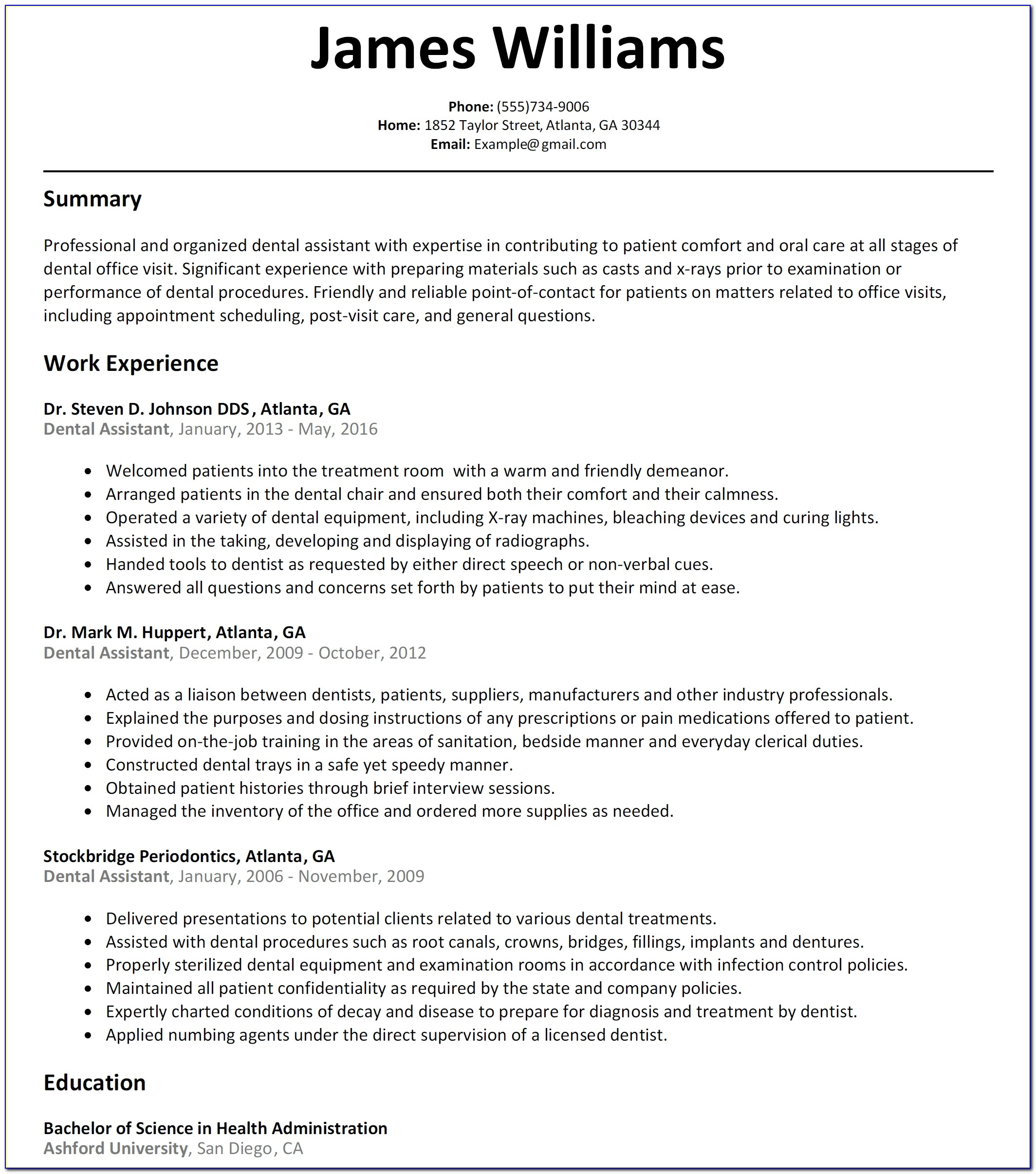 Dental Assistant Resume Sample Resumelift Regarding Dental Assistant Resume Template