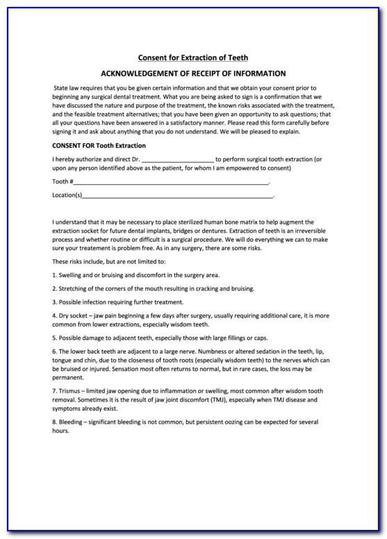 Dental Extraction Consent Form Spanish Vincegray2014