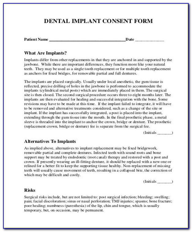 Dental Extraction Consent Form Uk Vincegray2014