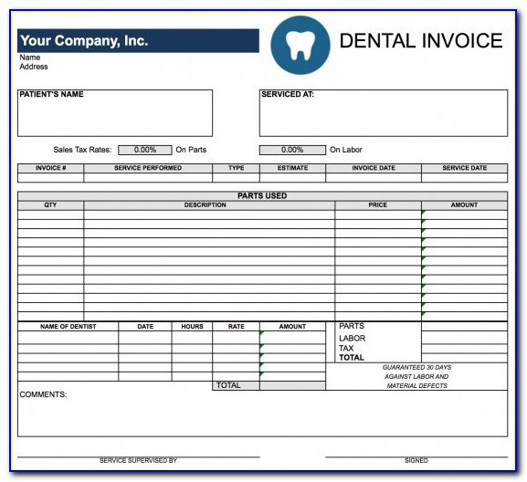 Dental Invoice Template Pdf