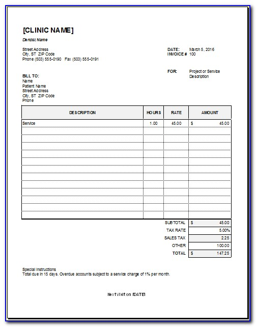 Dental Lab Invoice Templates