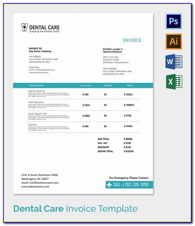 Dental Laboratory Invoice Template