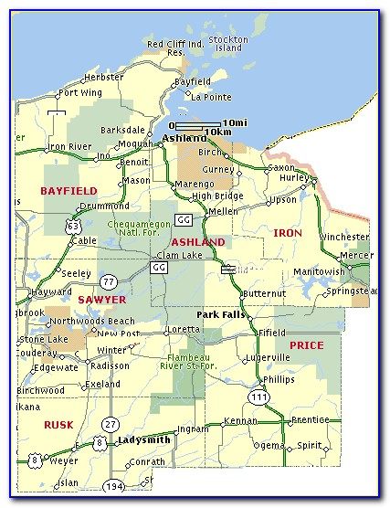 Detailed Map Of Ashland County Wi