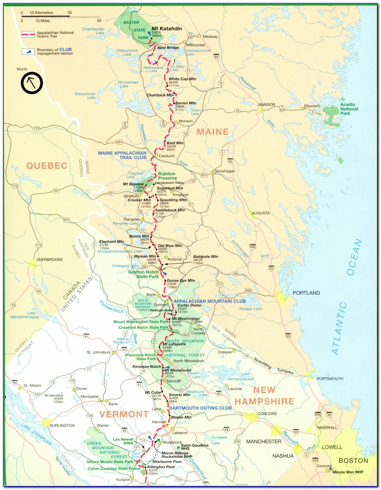 Detailed Map Of The Appalachian Trail