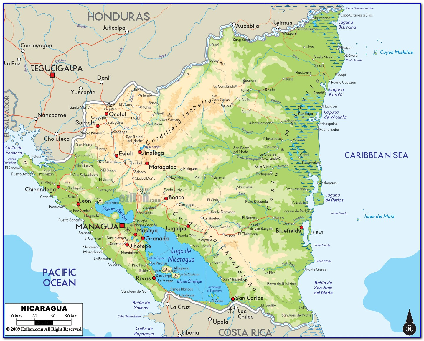 Detailed Road Map Of Nicaragua