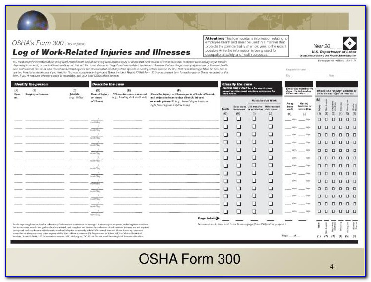 Difference Between Osha Form 300 And 300a