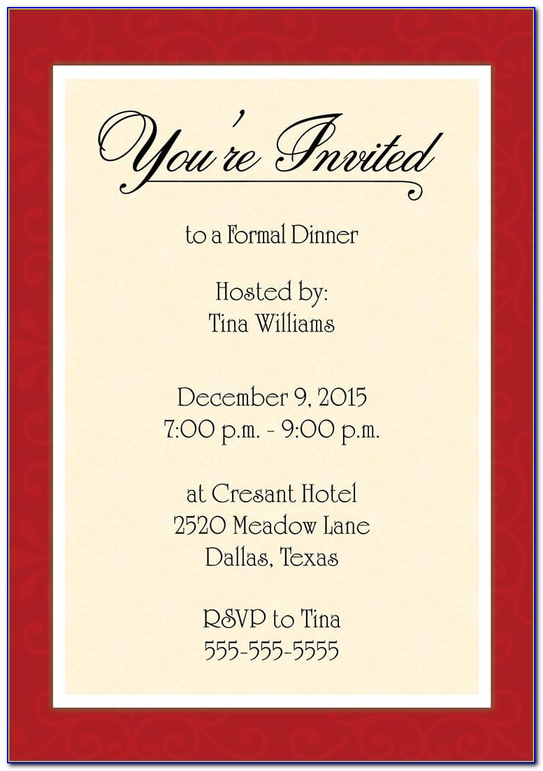 Dinner Invitation Sample Wording