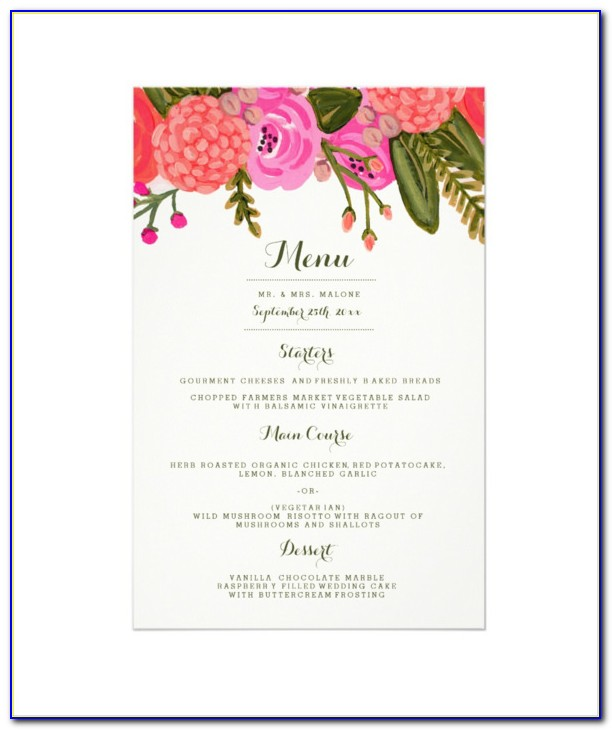 Dinner Menu Template For Wedding