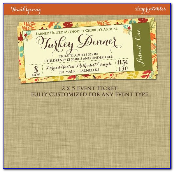 Dinner Sale Tickets Templates