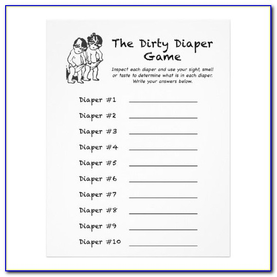 Dirty Diaper Baby Shower Game Template
