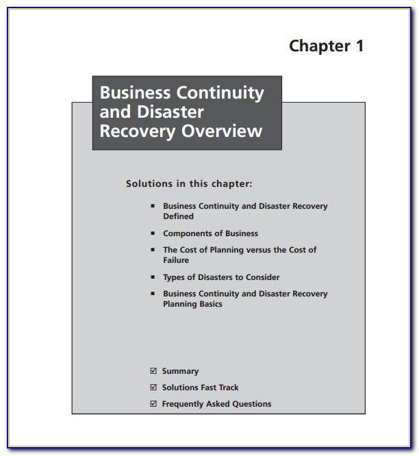 Disaster Recovery Business Continuity Plan Template Kit