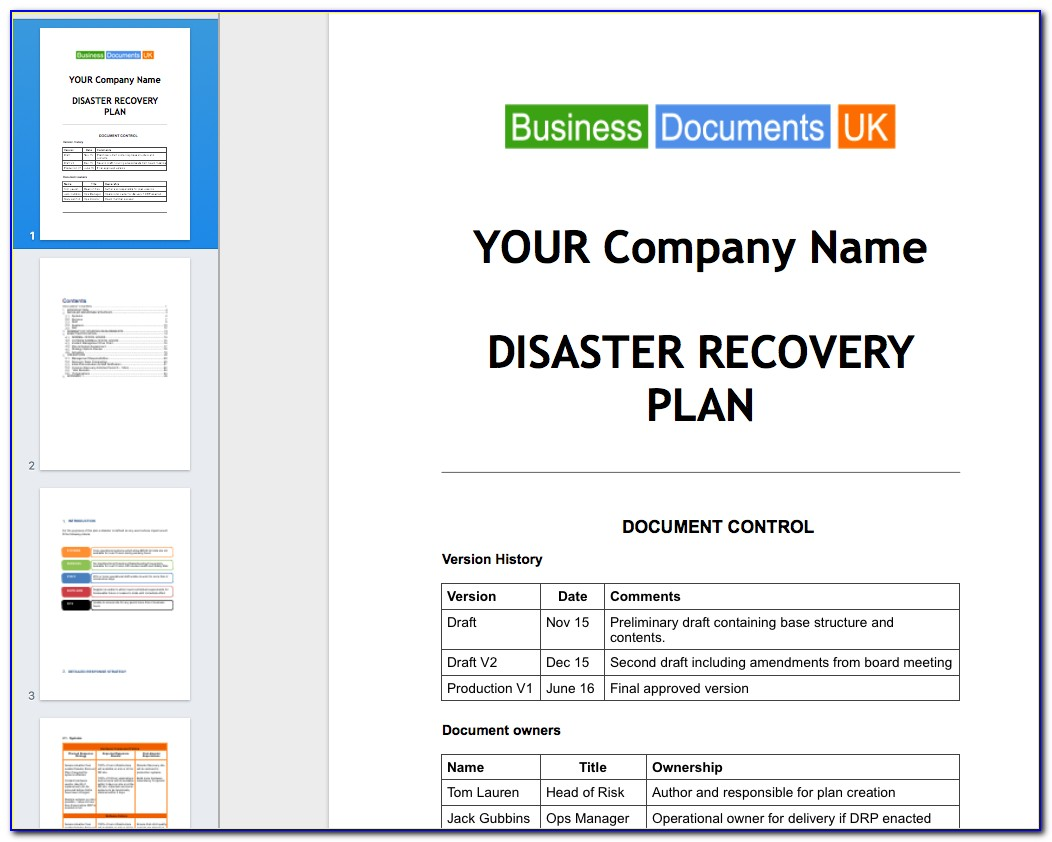 Disaster Recovery Plan Template For Small Business Uk