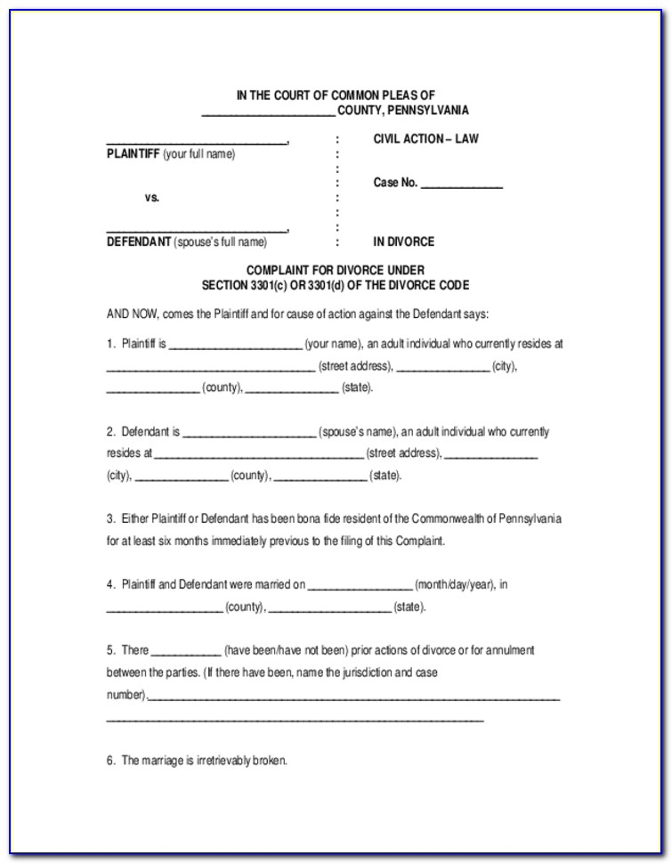 Divorce Complaint Form Pa
