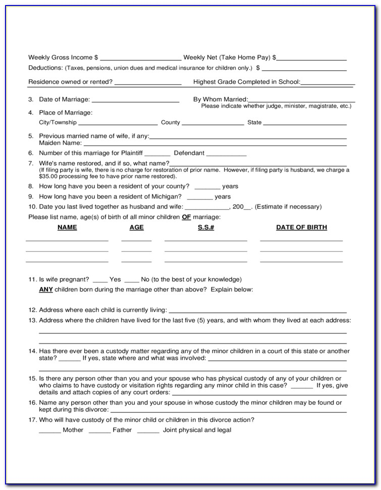 Divorce Filing Michigan