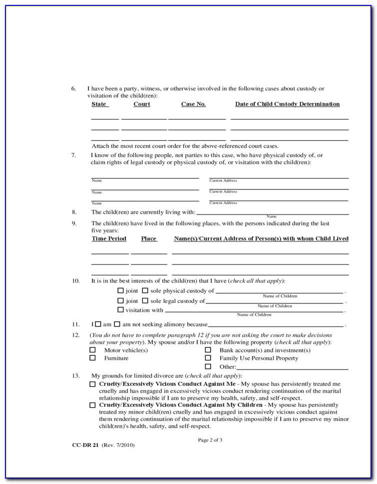 Divorce Forms In Maryland