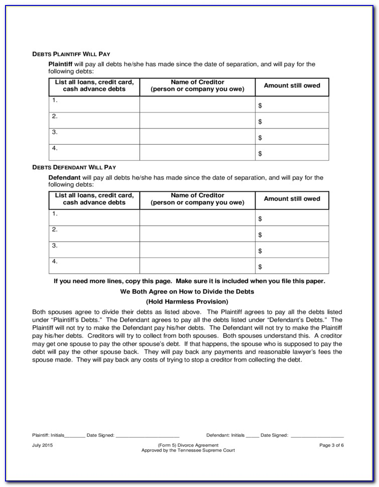 Divorce Forms Tennessee