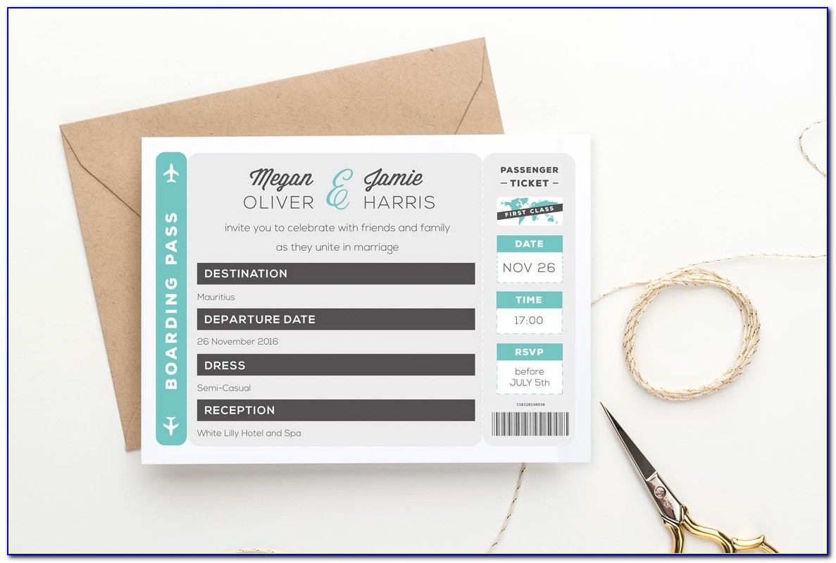 Diy Boarding Pass Wedding Invitations Template