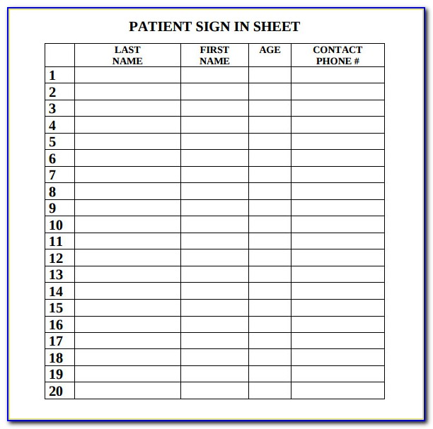 Doctors Office Sign In Sheet Template