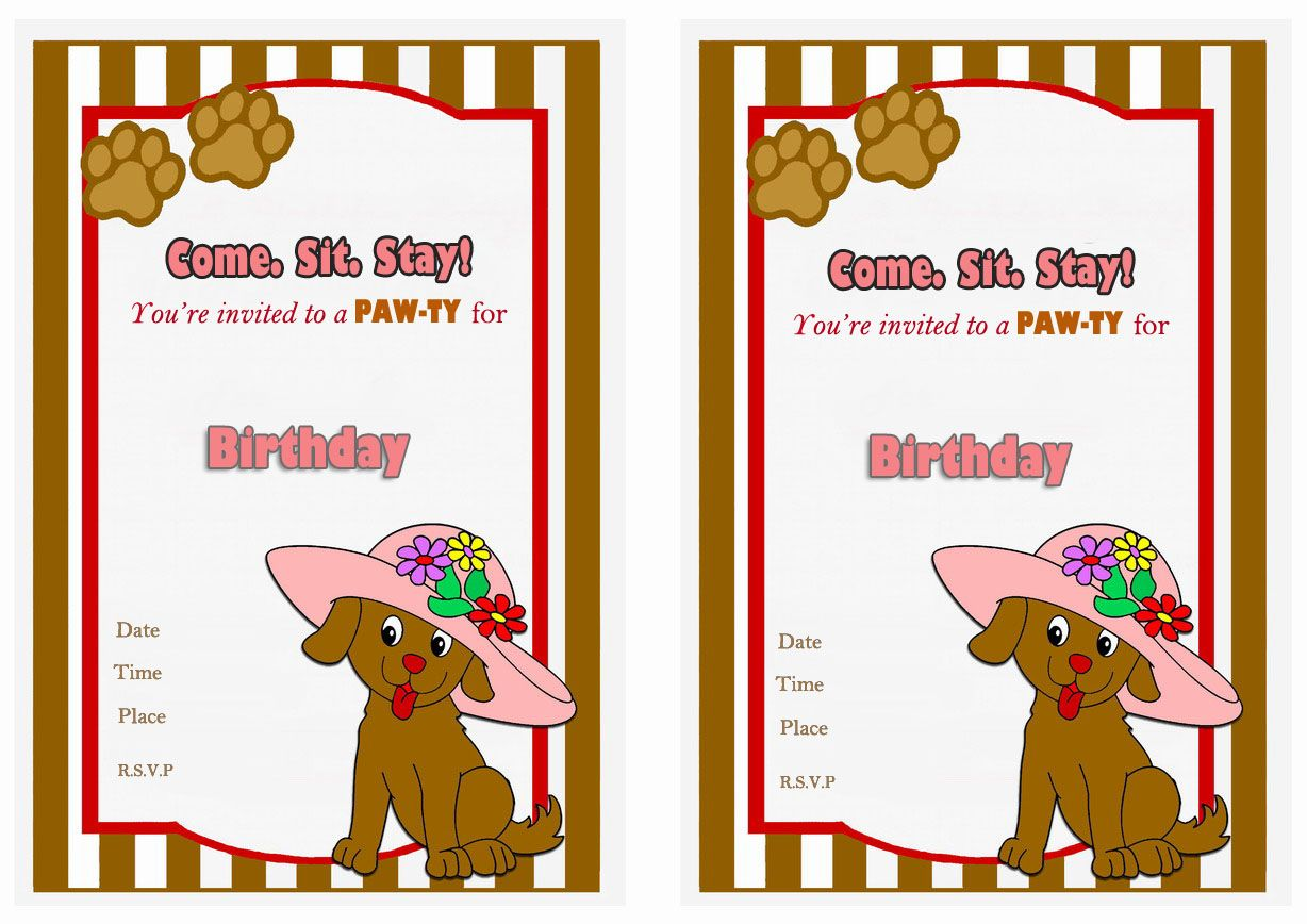 Dog Birthday Party Invitations Printable