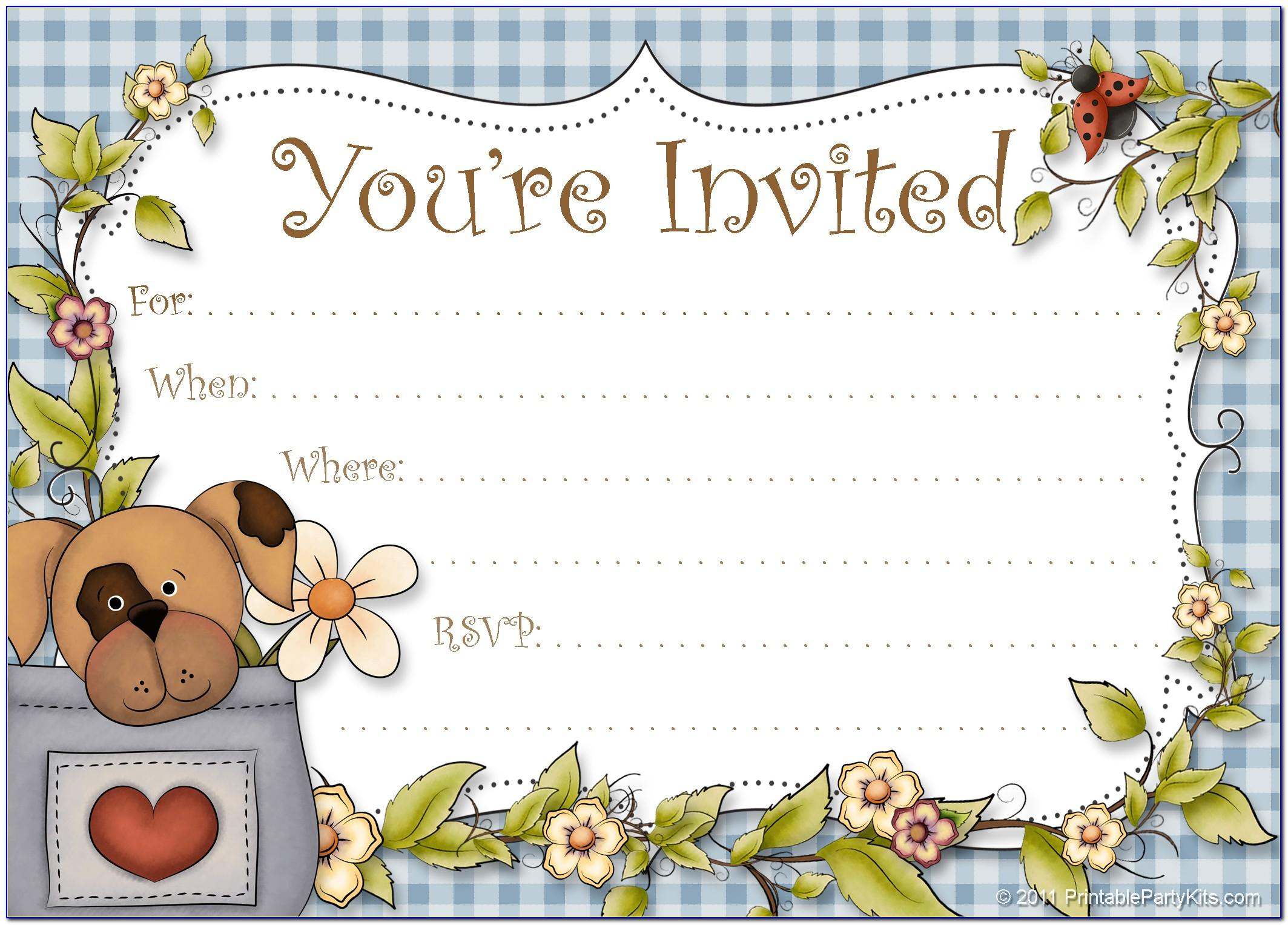 Dog Party Invitations Printable