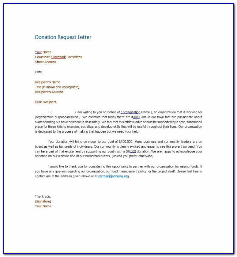 Donation Template Letter