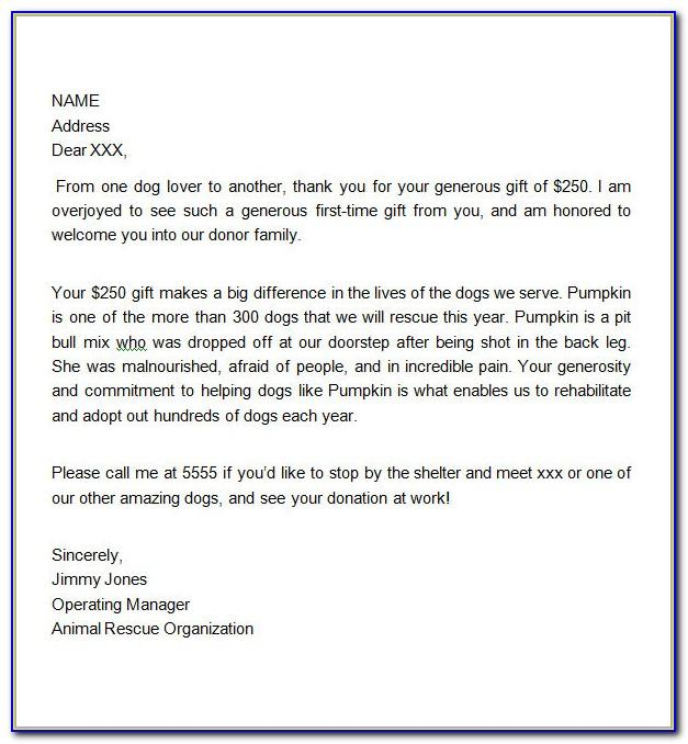 Donation Thank You Letter Template For Schools