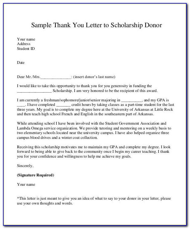 Donor Letter Thank You Template