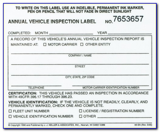 Dot Inspection Forms And Stickers