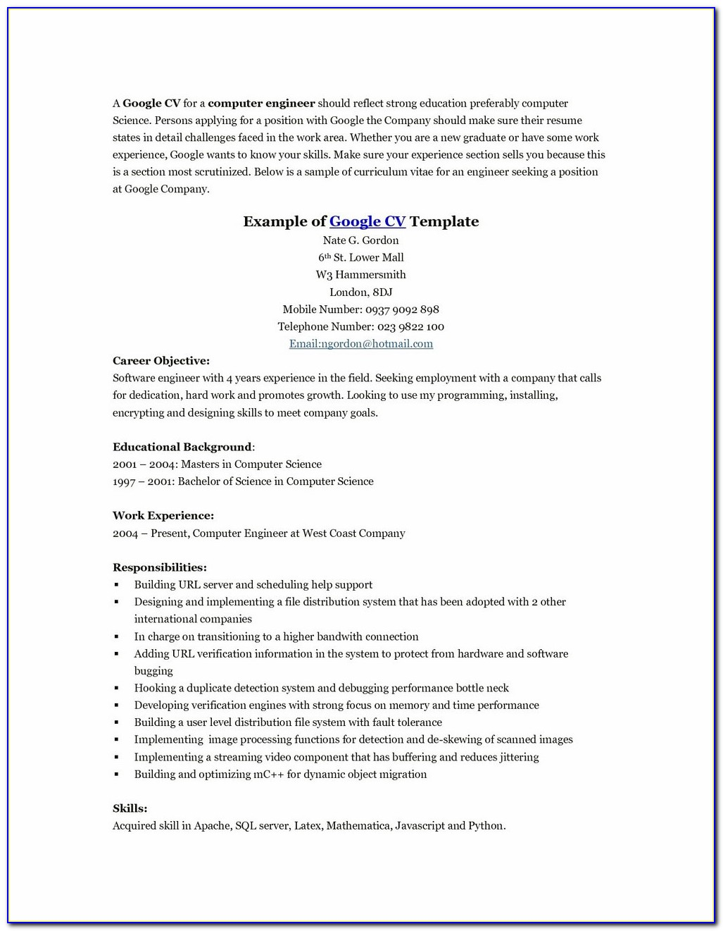 Download Cover Letter Resume Word Format