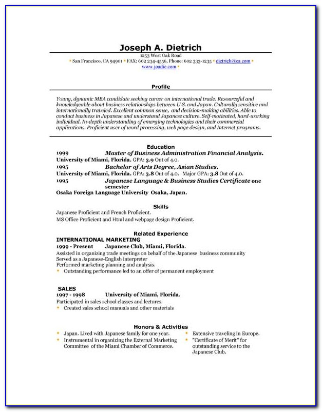Download Free Resume Template For Word