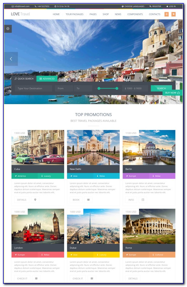 Download Free Tourism Website Template