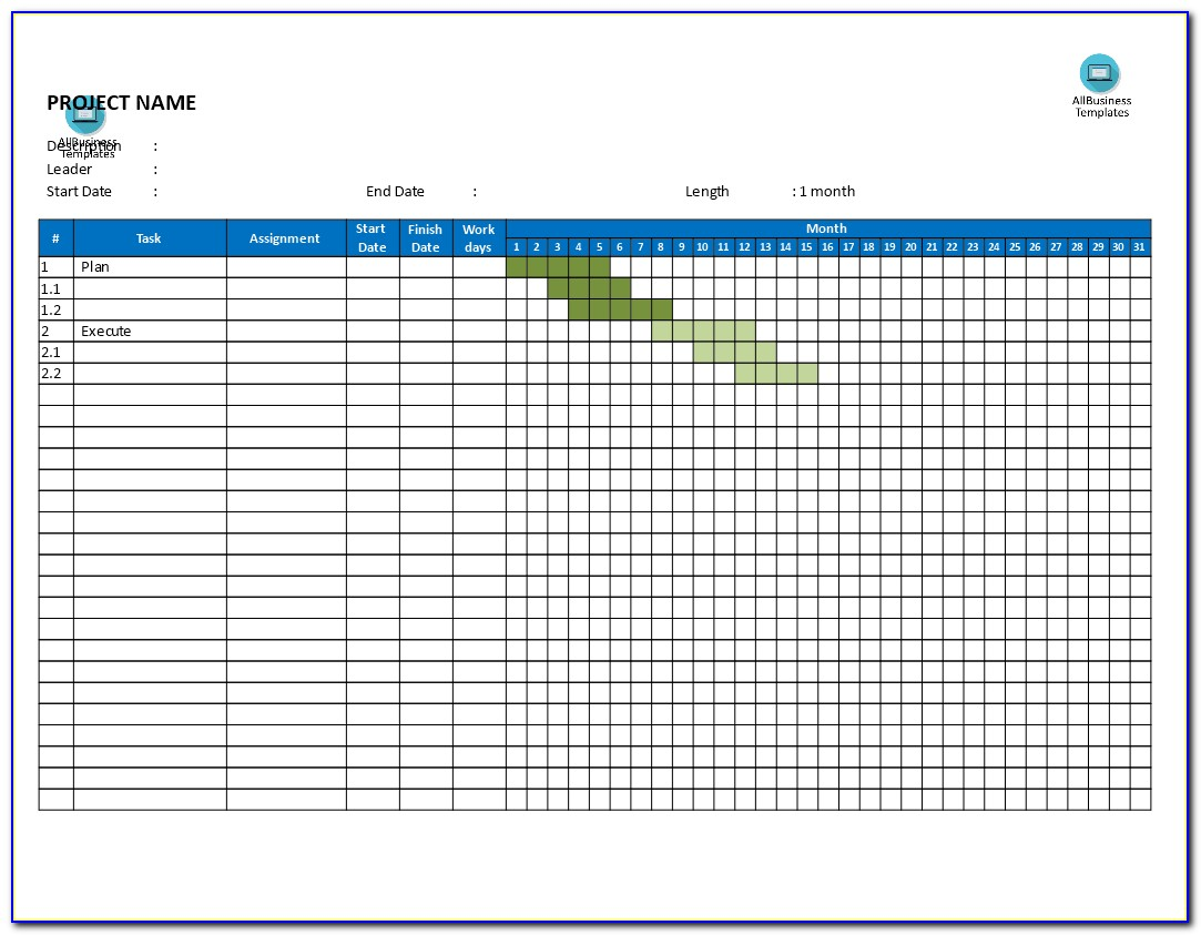 Free Gantt Chart Monthly Basis | Templates At Allbusinesstemplates To Gantt Chart Word Document Template