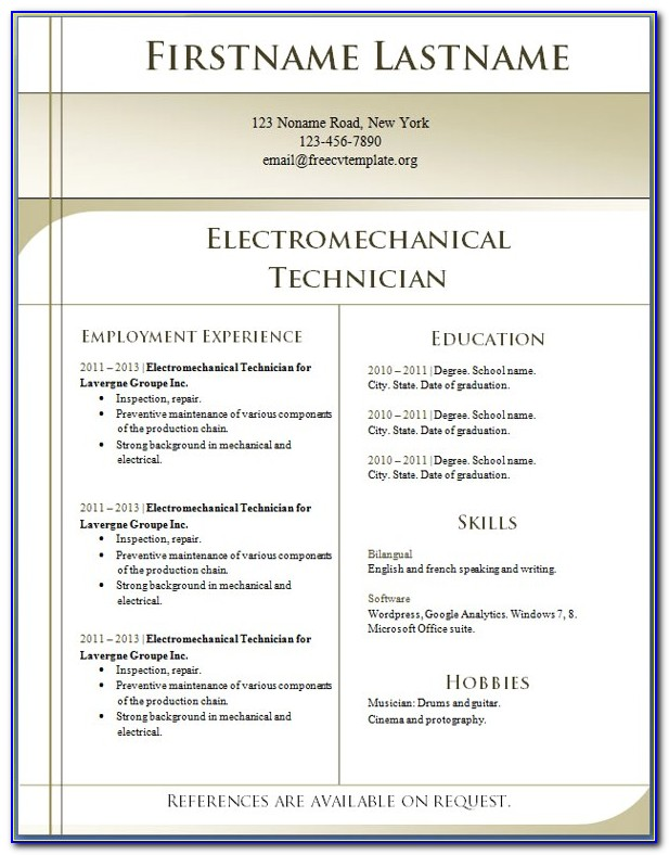 Download Resume Template Word 2007