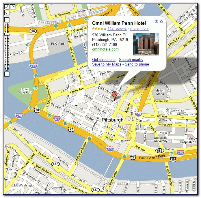 Downtown Pittsburgh Hotels Map