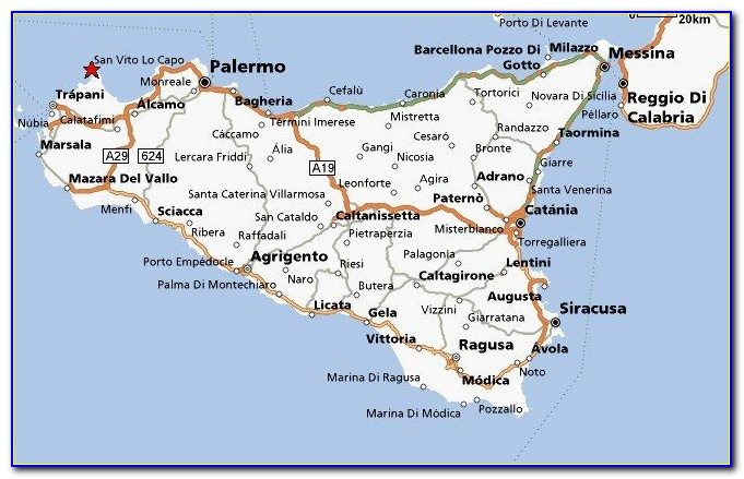 Driving Map Of Sicily
