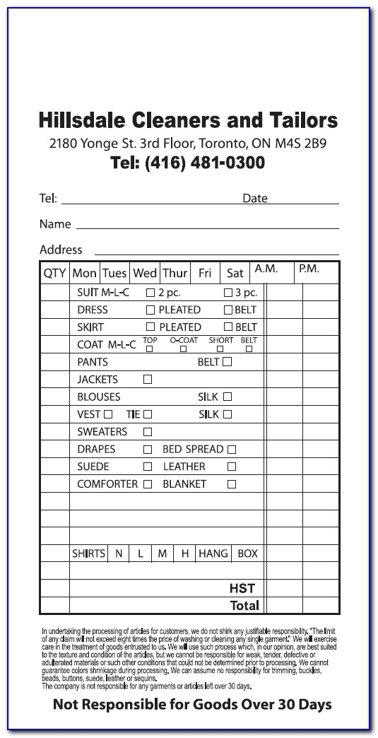 Dry Cleaning Receipt Template