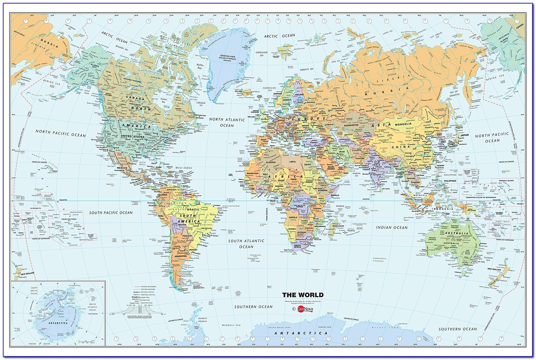Dry Erase World Map Wall Mural